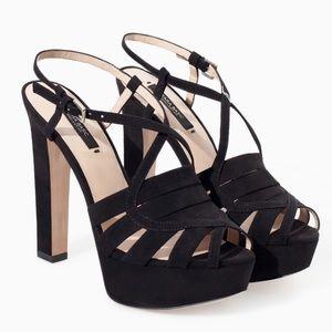 Zara strappy chunky platform sandal heels